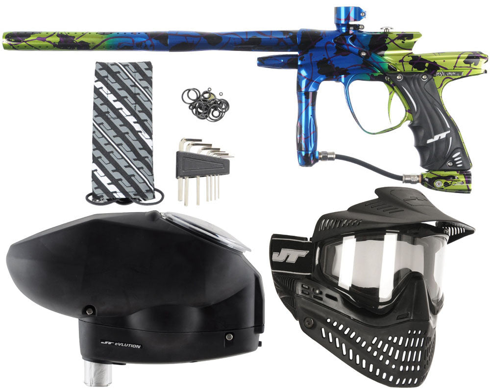 JT Impulse Paintball Gun w/ Free JT Proflex Mask & Evlution Loader - Splash Blue/Slime