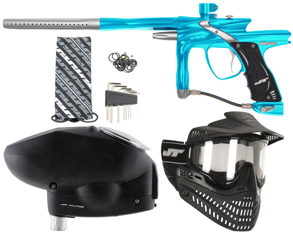 JT Impulse Paintball Gun w/ Free JT Proflex Mask & Evlution Loader - Teal/Dust Silver