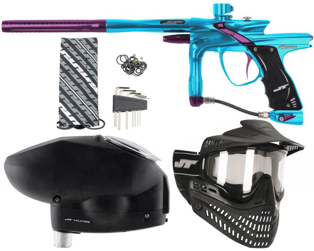 JT Impulse Paintball Gun w/ Free JT Proflex Mask & Evlution Loader - Teal/Eggplant