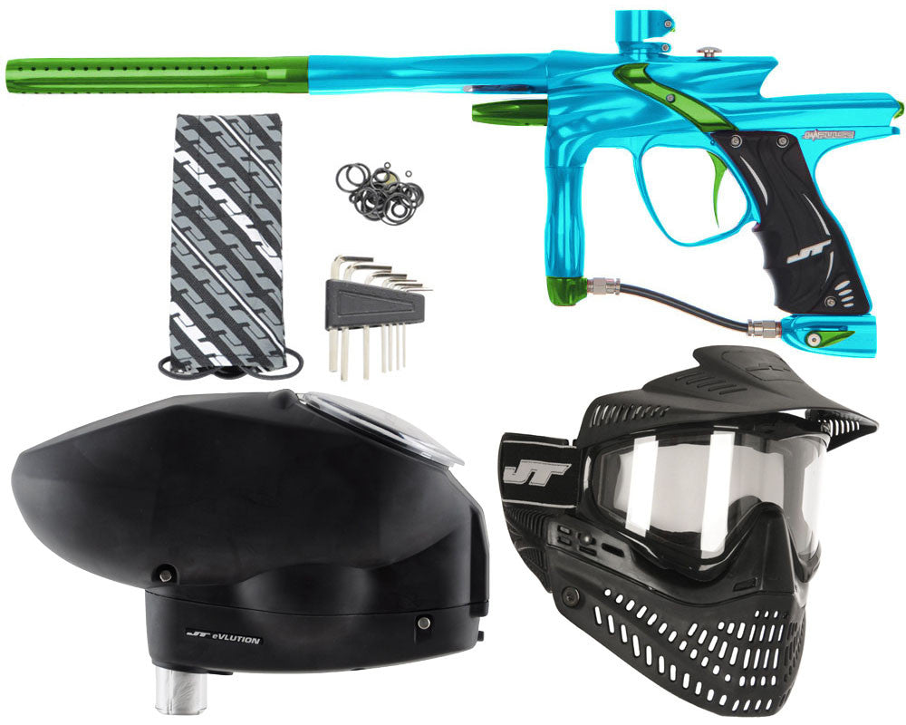 JT Impulse Paintball Gun w/ Free JT Proflex Mask & Evlution Loader - Teal/Slime