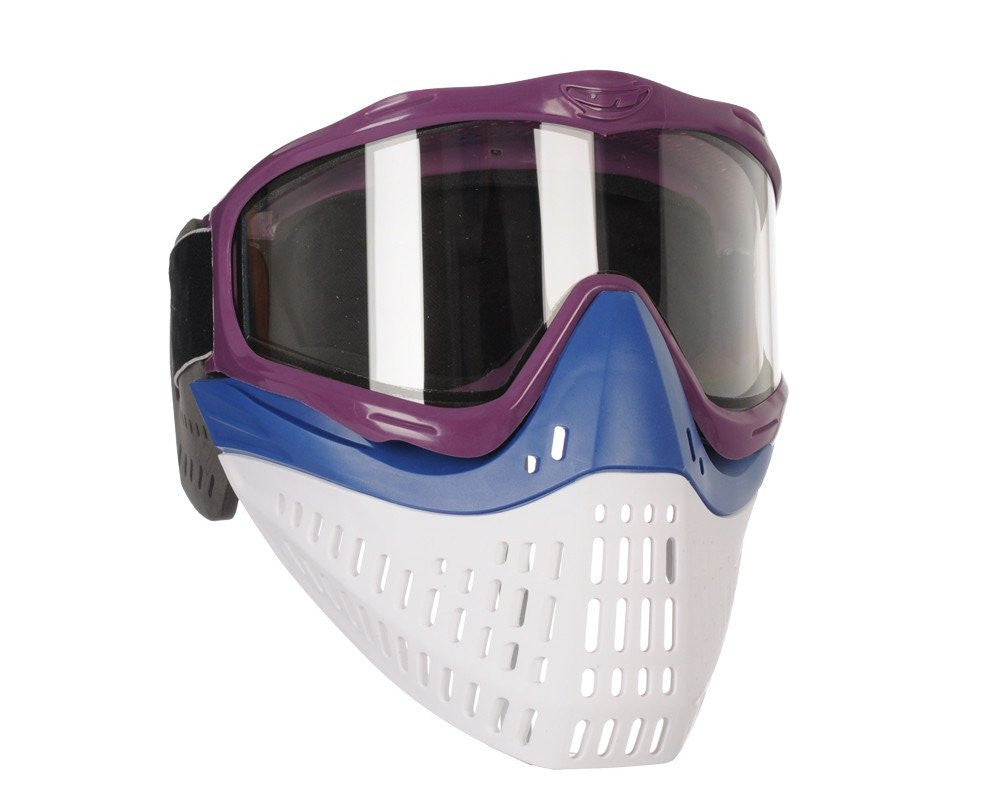 JT ProFlex Thermal Paintball Mask w/ Clear Lens - Purple w/ Blue/White Bottoms