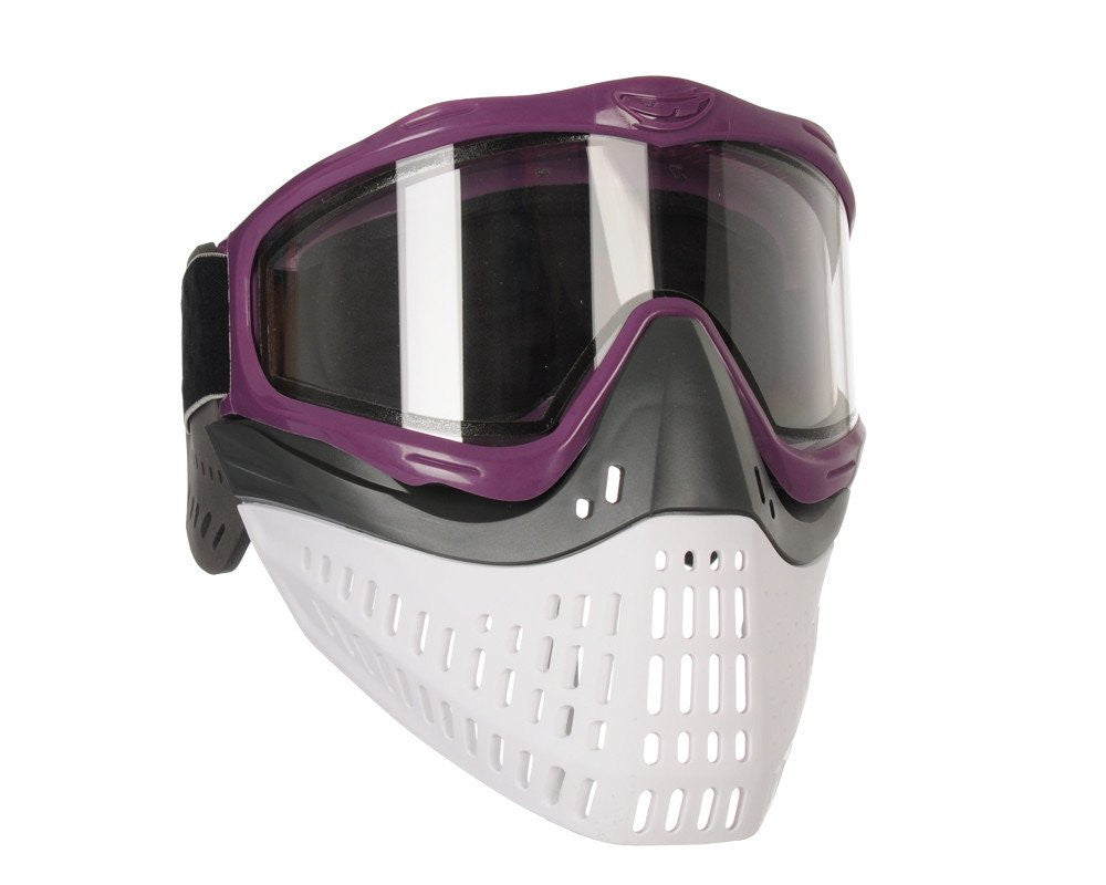 JT ProFlex Thermal Paintball Mask w/ Clear Lens - Purple w/ Grey/White Bottoms