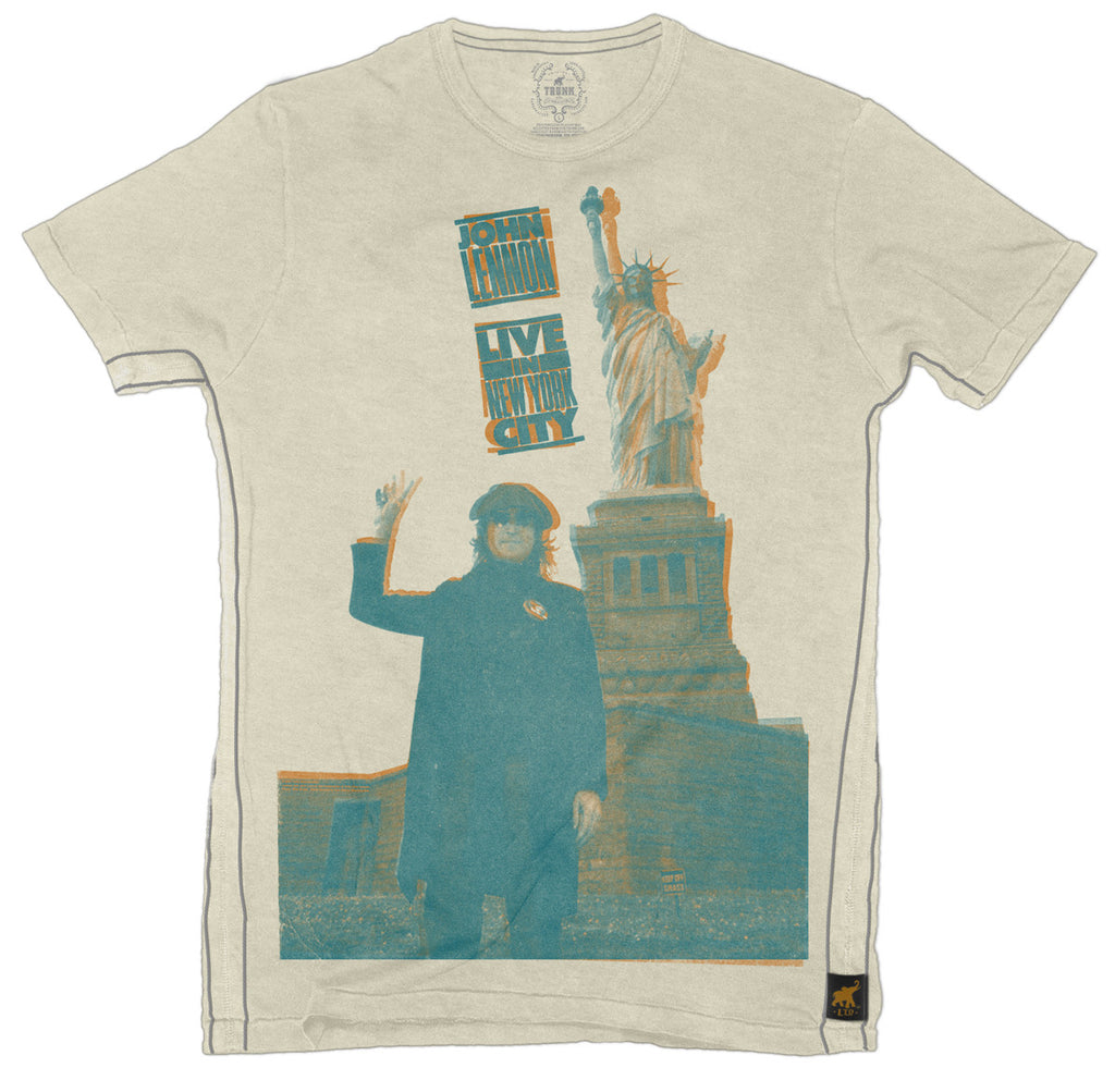 John Lennon - Peace in New York - Green - Mens T-Shirt
