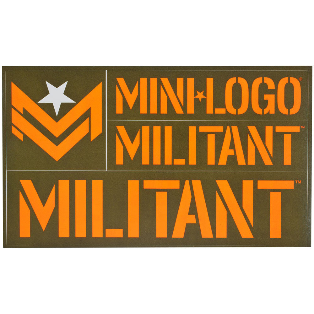 Mini Logo Militant - Orange/Army - Sticker