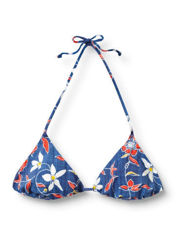 Quiksilver Original Blossom Iconic Bikini Top - Blue - Womens Swimwear