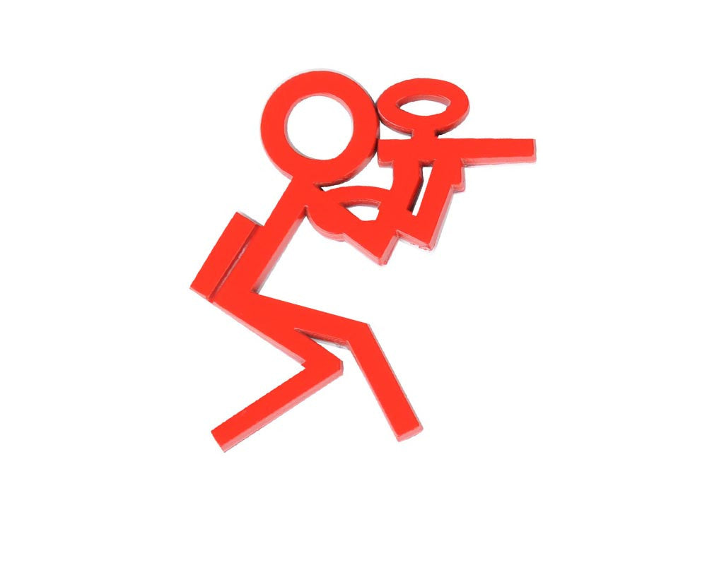 "3"" Paintball Stick Figure Car Emblem - Red"