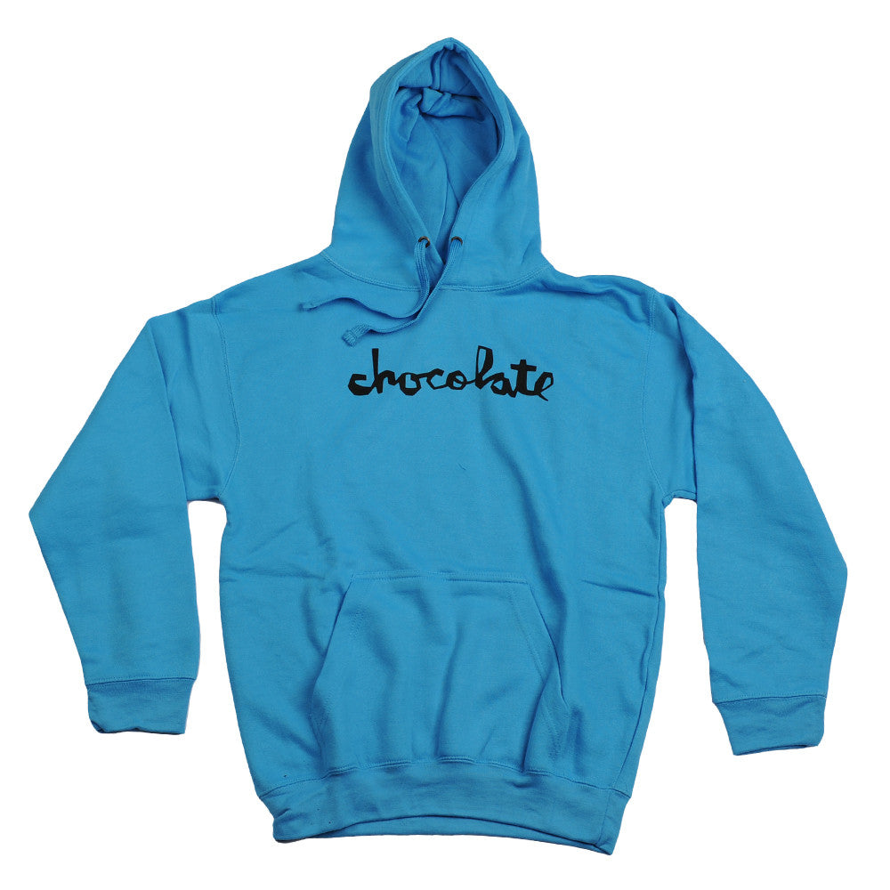 Chocolate Neon Pullover Hoodie - Neon Blue - Men's Sweatshirt