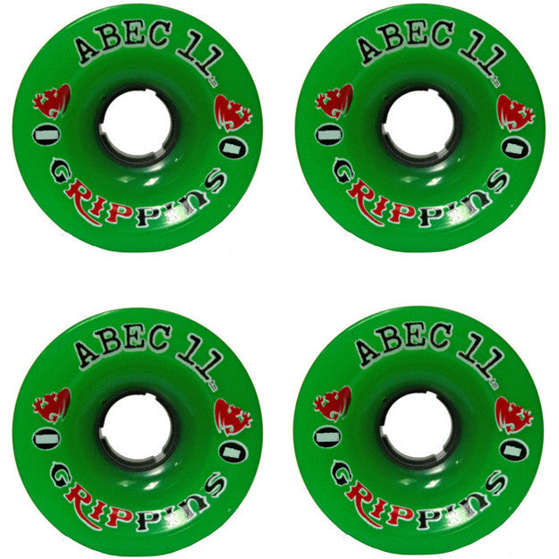 Abec 11 Grippins - Green - 70mm 75a - Skateboard Wheels (Set of 4)
