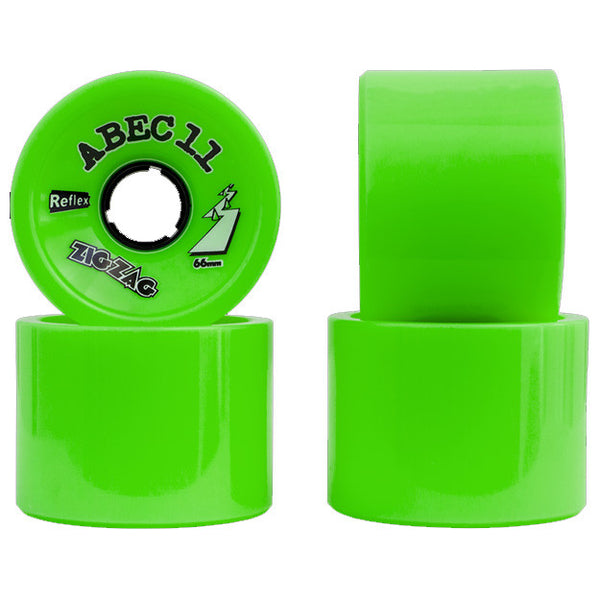 Abec 11 Zig Zags - Lime - 66mm 80a - Skateboard Wheels (Set of 4)