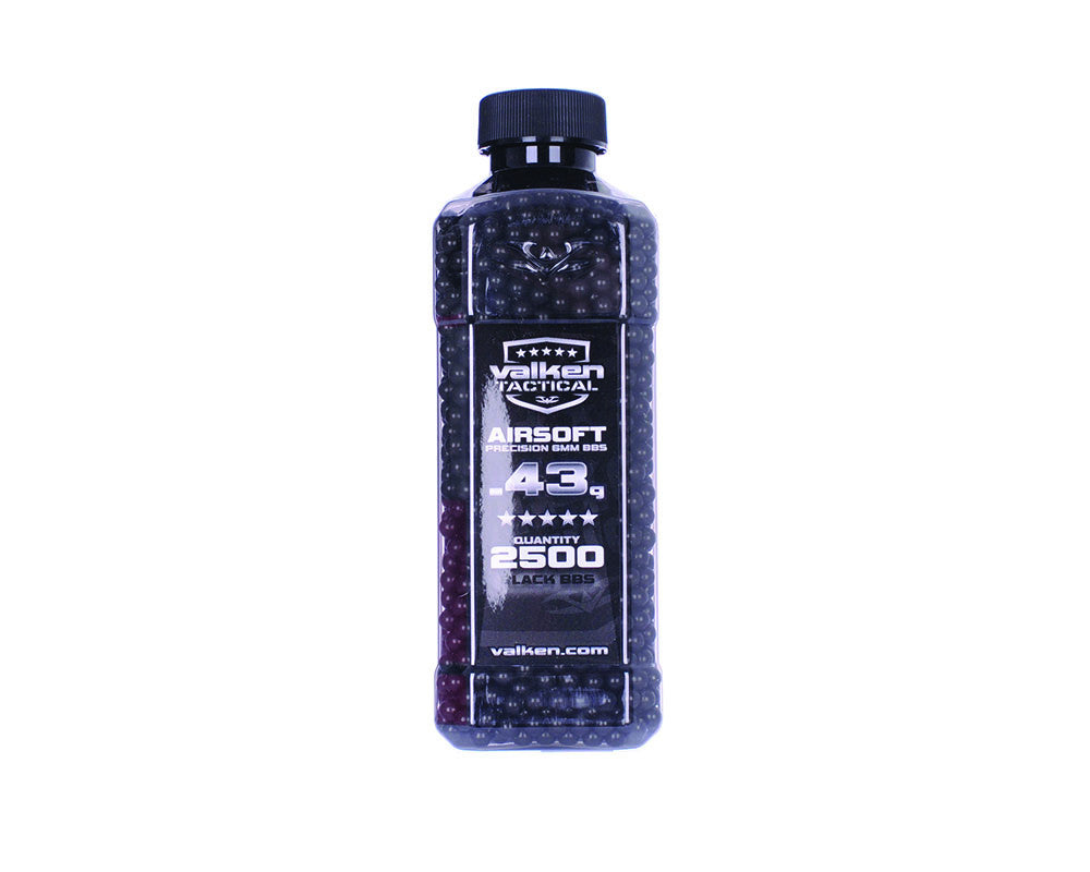 Valken Tactical .43g Airsoft BB's - 2500 - Black