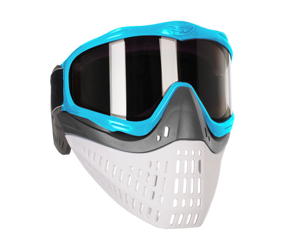 JT ProFlex Thermal Paintball Mask w/ Smoke Lens - Aqua w/ Grey/White Bottoms