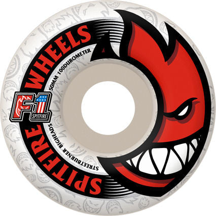 Spitfire Wheels F1 Street Burner Bighead - White - 52mm 100a - Skateboard Wheels (Set of 4)