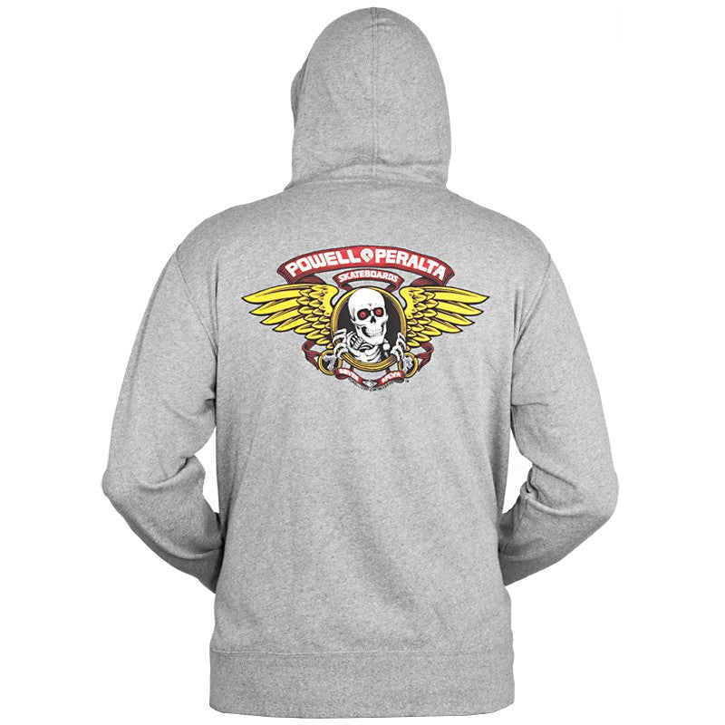 Powell-Peralta Winged Ripper Hooded Zip - Gray - Mens Sweatshirt