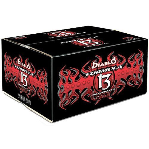 Diablo Formula 13 Paintballs Case 500 Rounds - Orange/Silver - Orange Fill