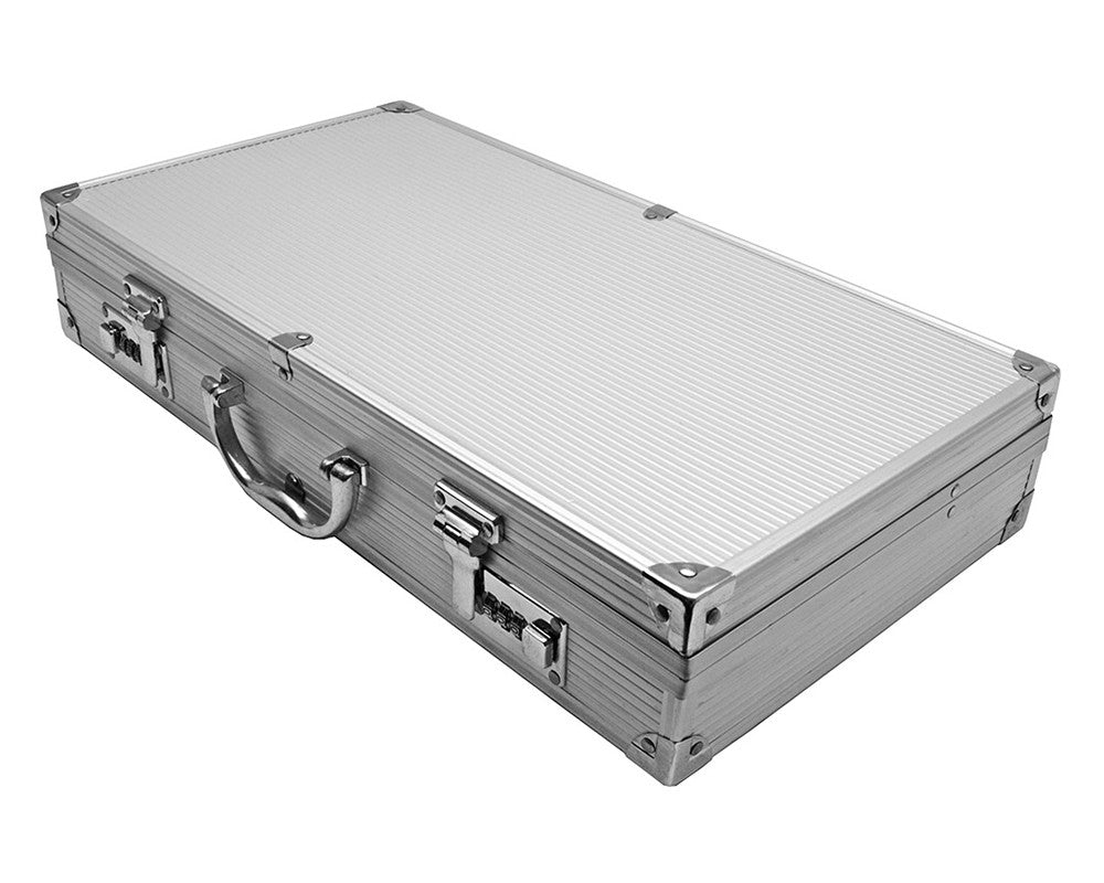 Ribbed Aluminum Gun Case w/ Combination Locks - Silver