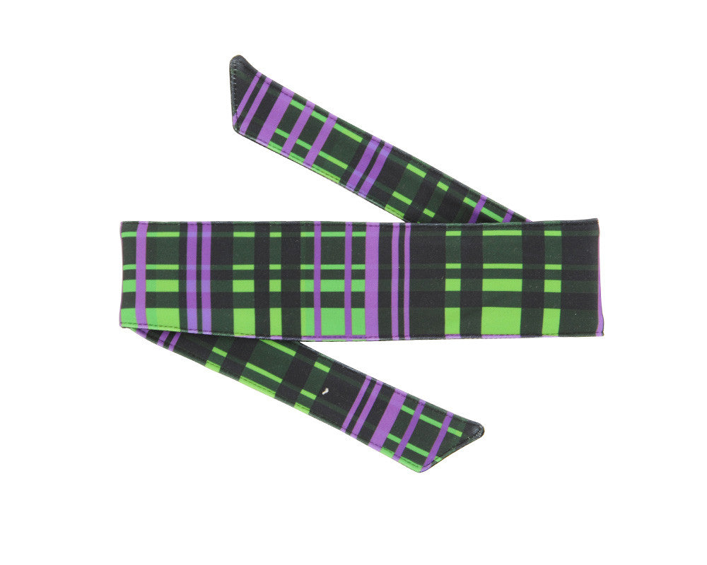 HK Army Headband - Plaid Neon