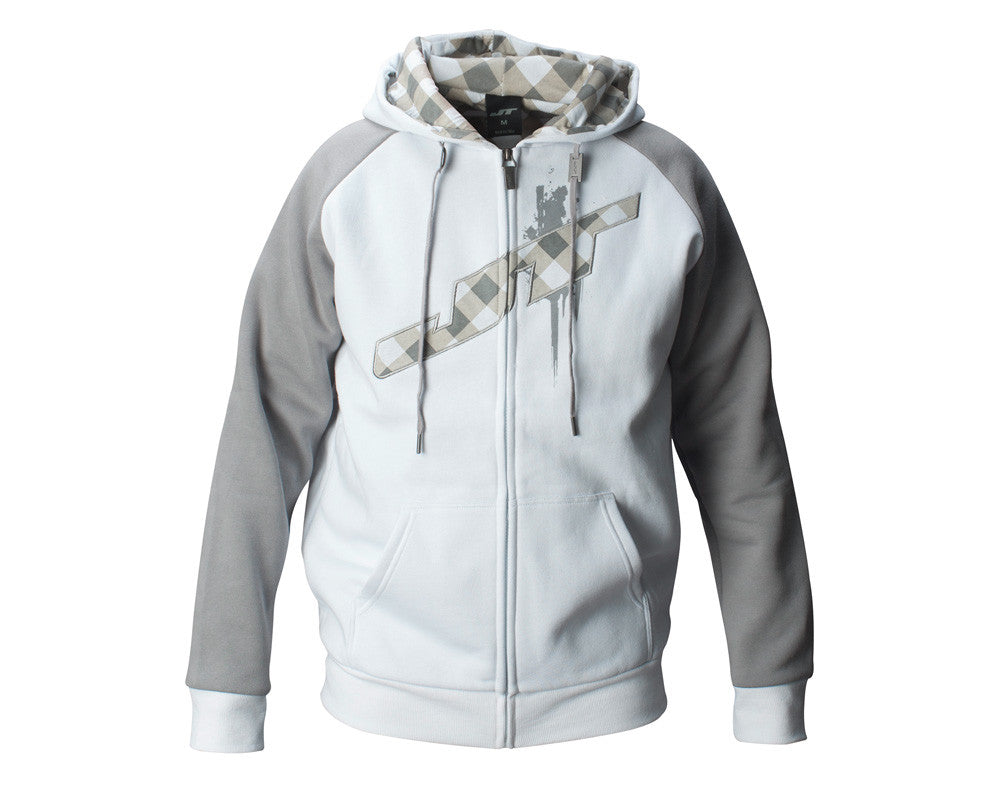 JT Street Hooded Zip-Up Sweatshirt - White/Grey