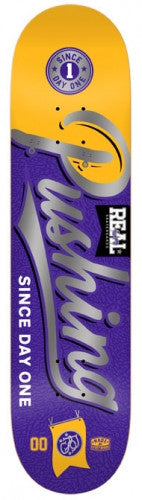 Real Pushing All City Small - Yellow/Purple - 7.75in x 31.25in - Skateboard Deck
