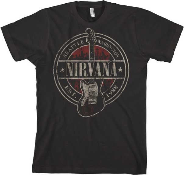 Nirvana Band Est 1988 Guitar Stamp Big  - Black - Band T-Shirt