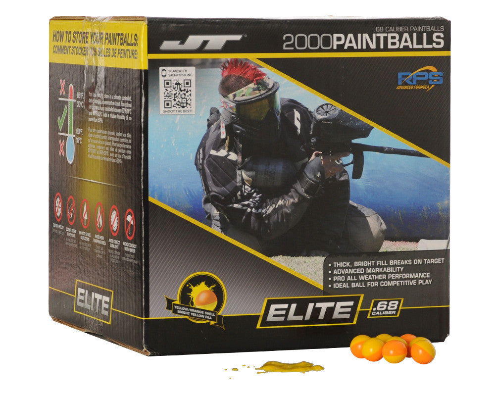 JT Elite Paintballs Case 2000 Rounds - Yellow Fill
