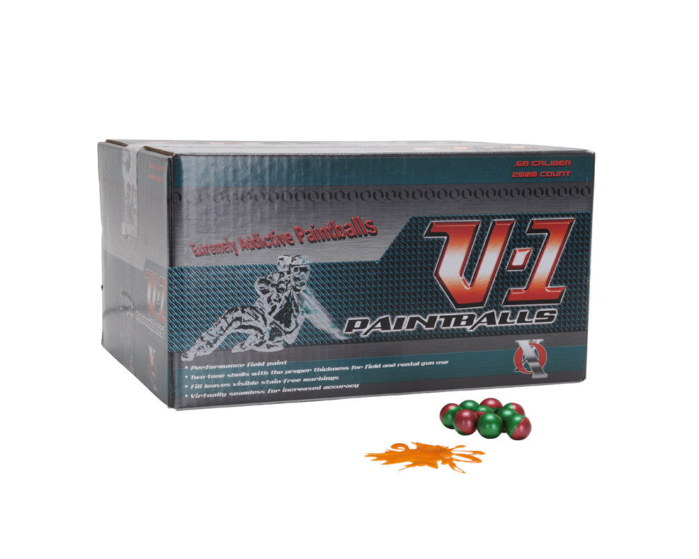 XO V-1 Paintballs Case 2000 Rounds - Green/Red Shell - Orange Fill