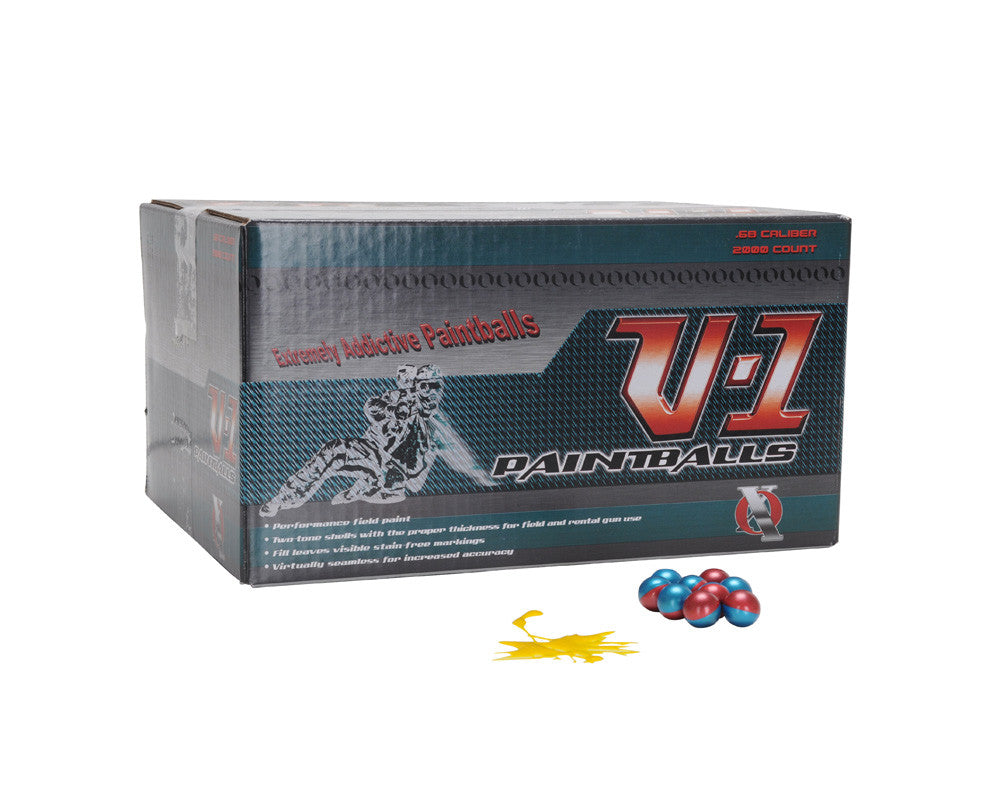 XO V-1 Paintballs Case 2000 Rounds - Blue/Red Shell - Yellow Fill