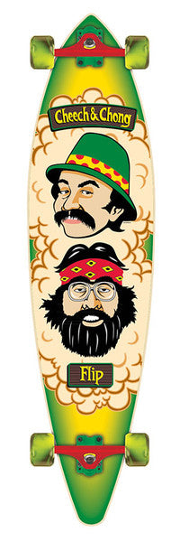 Flip Cheech And Chong Pinner Tail Cruzer - Green/Yellow - 9.9in x 43.5in - Complete Skateboard