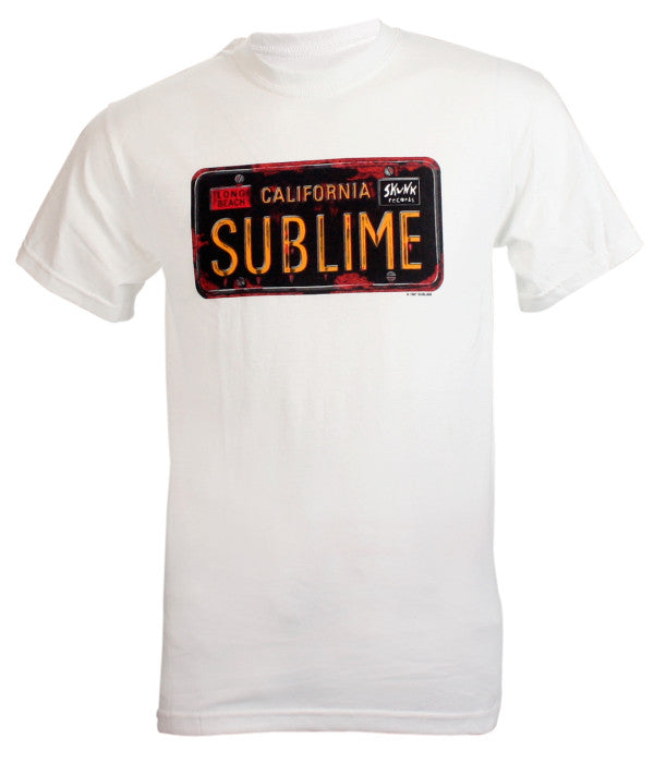Sublime Band License Plate - White - Band T-Shirt