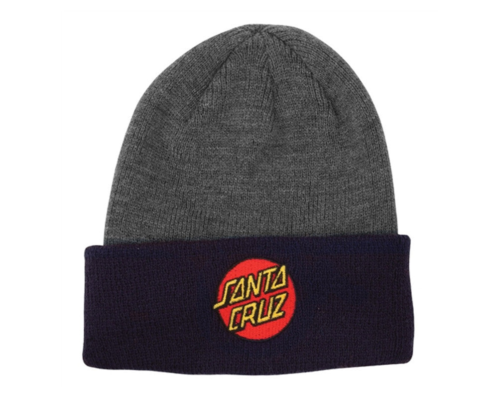 Santa Cruz Classic Dot Long Shoreman - One Size Fits All - Charcoal Heather/Navy - Men's Beanie
