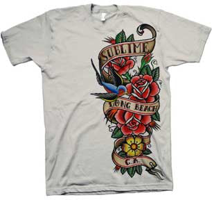 Sublime Band Men's Bird & Banner - White - Band T-Shirt