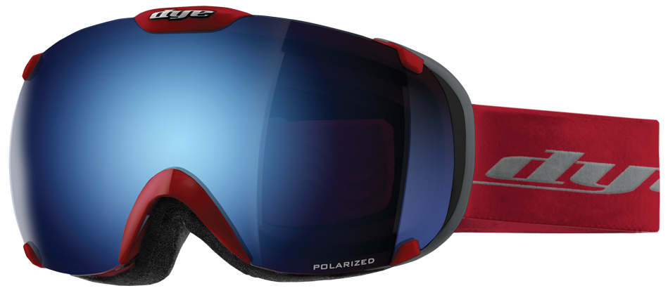 Dye T1 Red Snowboard Goggles w/ Additional Lens - Blue Ice Polarized