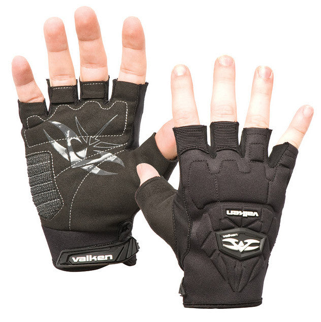2012 Valken Impact Half Finger Paintball Gloves - Black