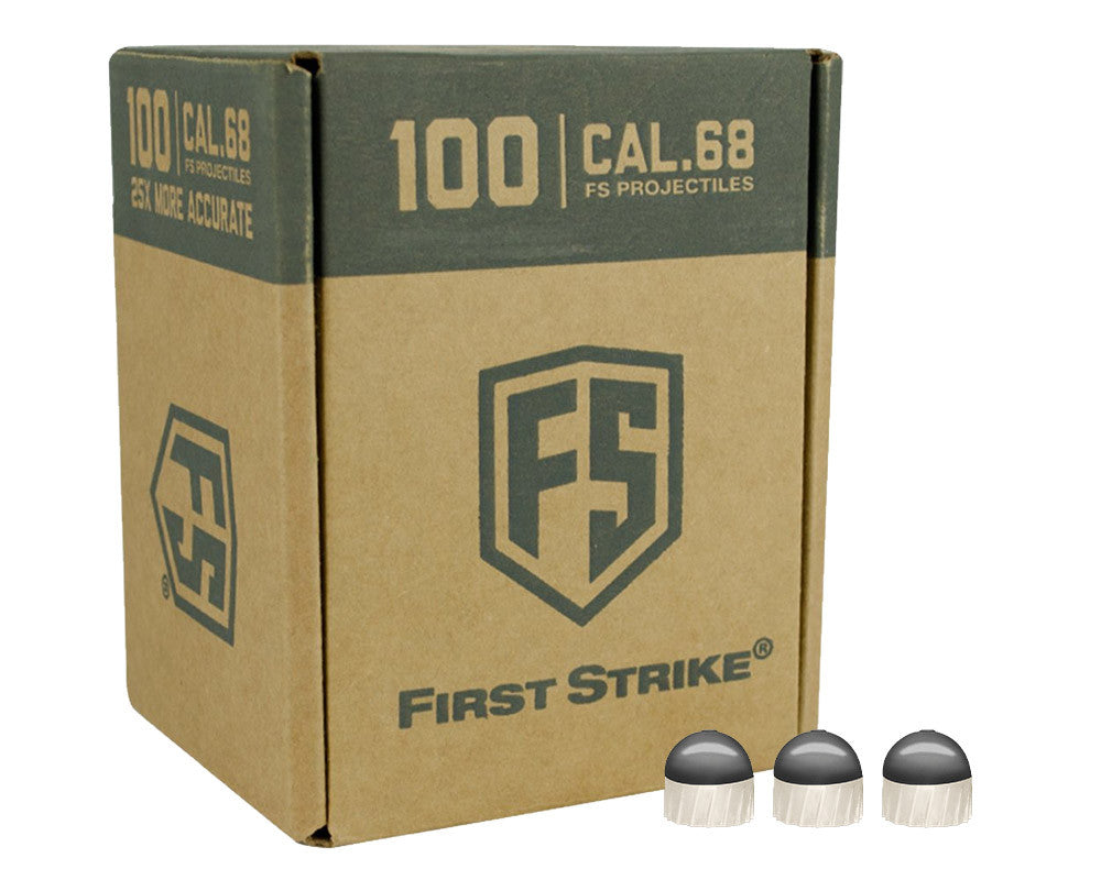 Tiberius Arms First Strike 100 Count Paintballs - Dark Grey/White Shell w/ White Fill