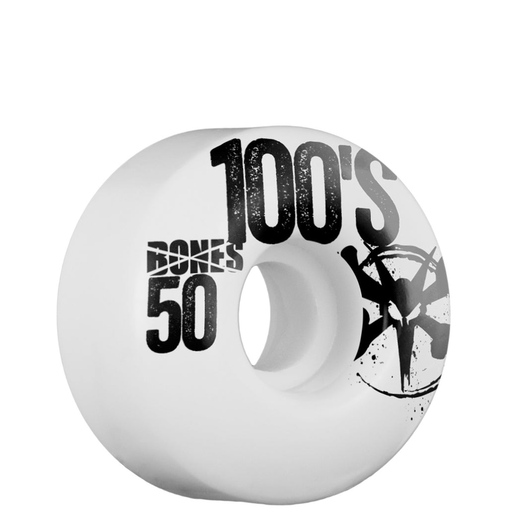 Bones 100's - White - 50mm 100a - Skateboard Wheels (Set of 4)