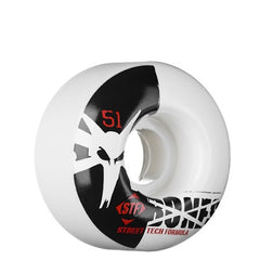 Bones Street Tech Formula Standard - White - 51mm 83b - Skateboard Wheels (Set of 4)