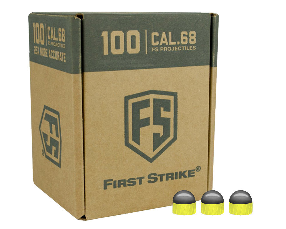 Tiberius Arms First Strike 100 Count Paintballs - Smoke/Yellow Shell w/ Yellow Fill