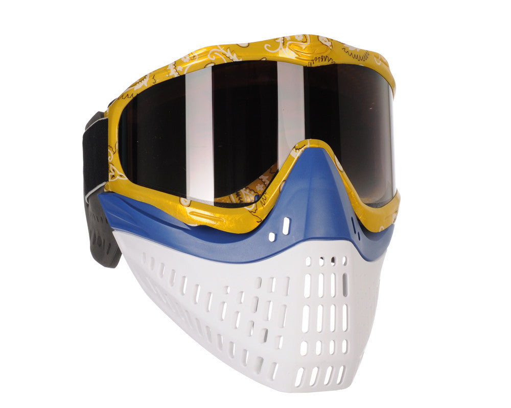 JT ProFlex Thermal Paintball Mask w/ Smoke Lens - Yellow Bandana w/ Blue/White Bottoms