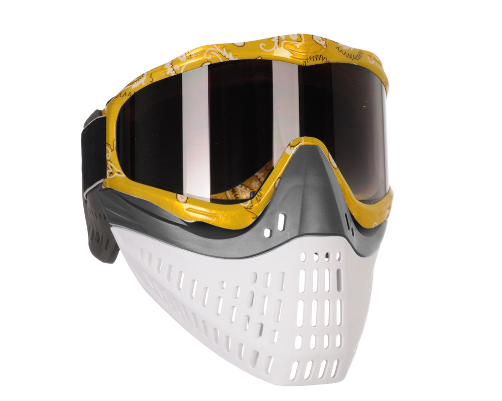 JT ProFlex Thermal Paintball Mask w/ Smoke Lens - Yellow Bandana w/ Grey/White Bottoms
