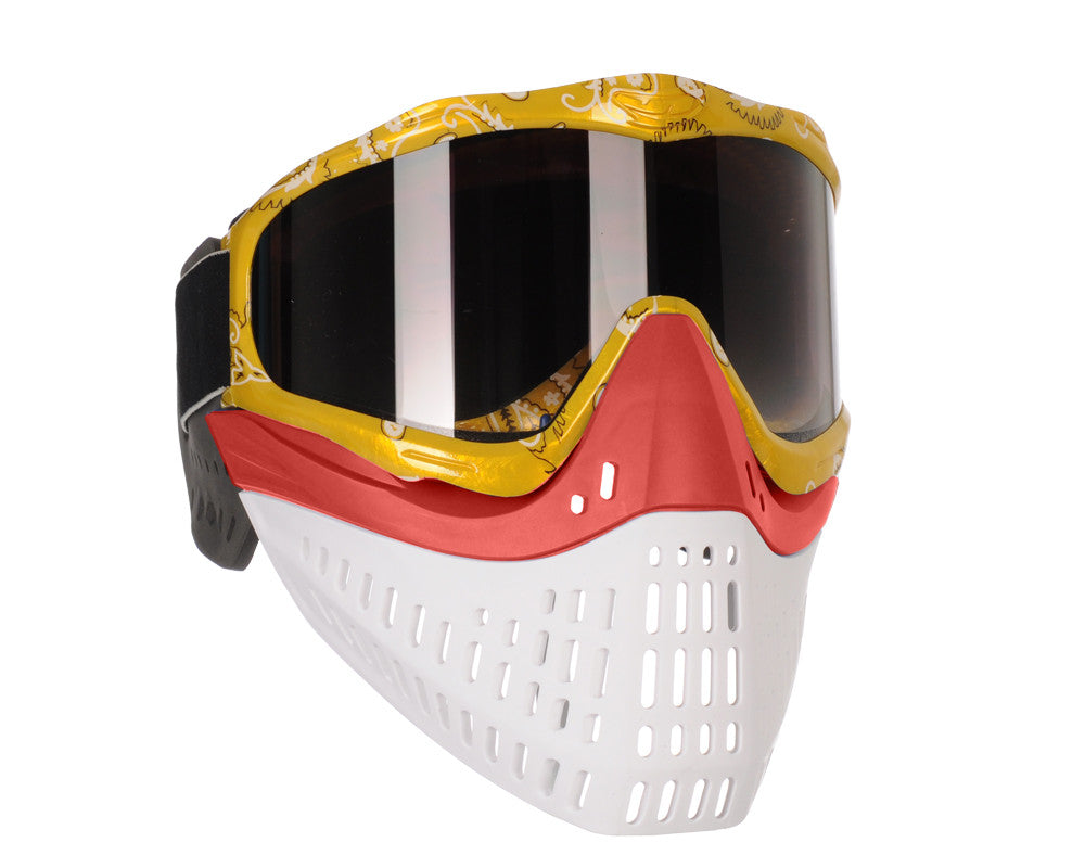 JT ProFlex Thermal Paintball Mask w/ Smoke Lens - Yellow Bandana w/ Red/White Bottoms