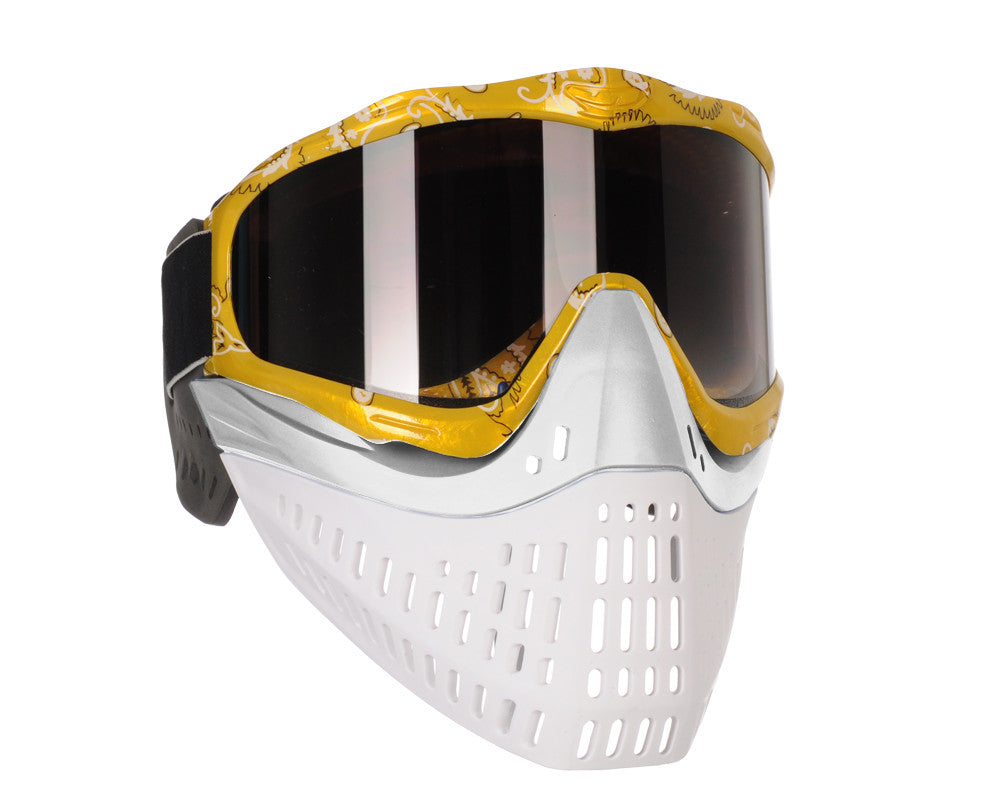 JT ProFlex Thermal Paintball Mask w/ Smoke Lens - Yellow Bandana w/ White/White Bottoms