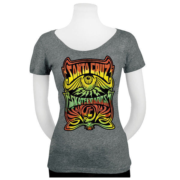 Santa Cruz Rasta Hallucinate Scoop Neck Tri-Blend S/S - Heather Grey - Women's T-Shirt