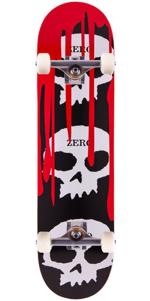 Zero 3 Skulls w/ Blood - Black/Red/Natural - 7.875in - Complete Skateboard