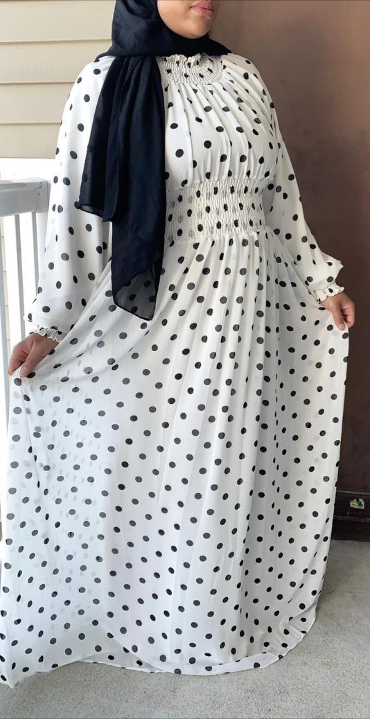 White Polka Dot Chiffon Elegant Dress