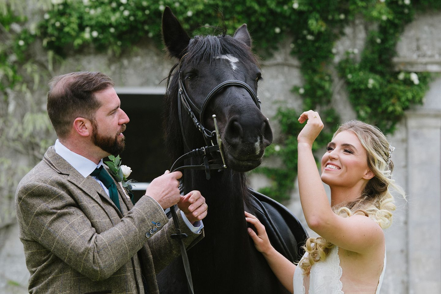 Cornish Country House Wedding Inspiration - Bride and groom with horse