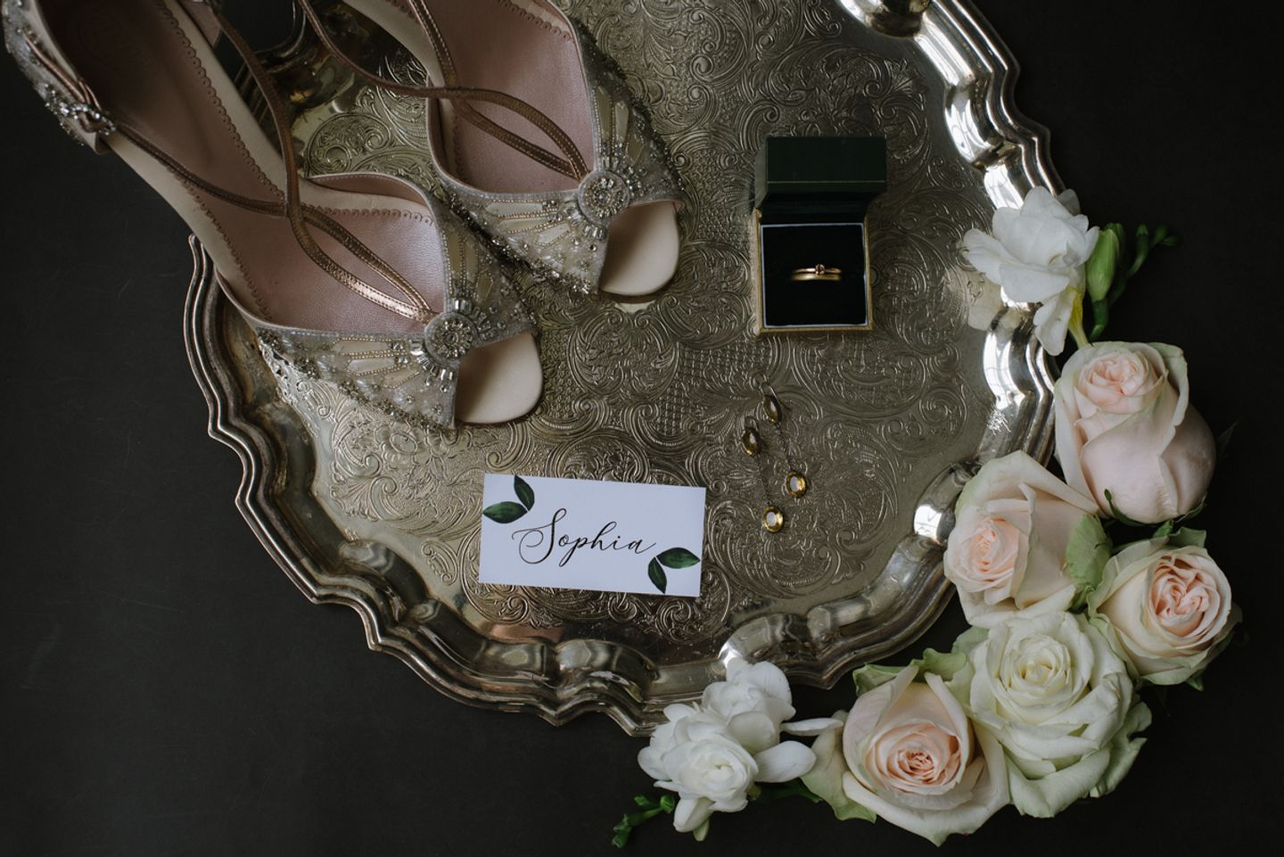 Wedding flat lay styling, Art Deco heels with bridal jewellery on a silver tray with roses