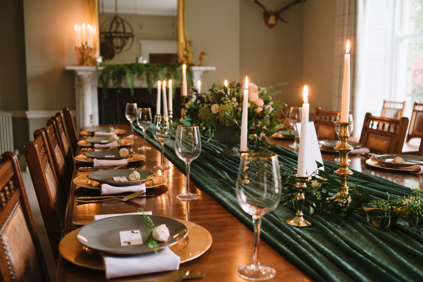 Country House intimate candle lit wedding breakfast table decorations