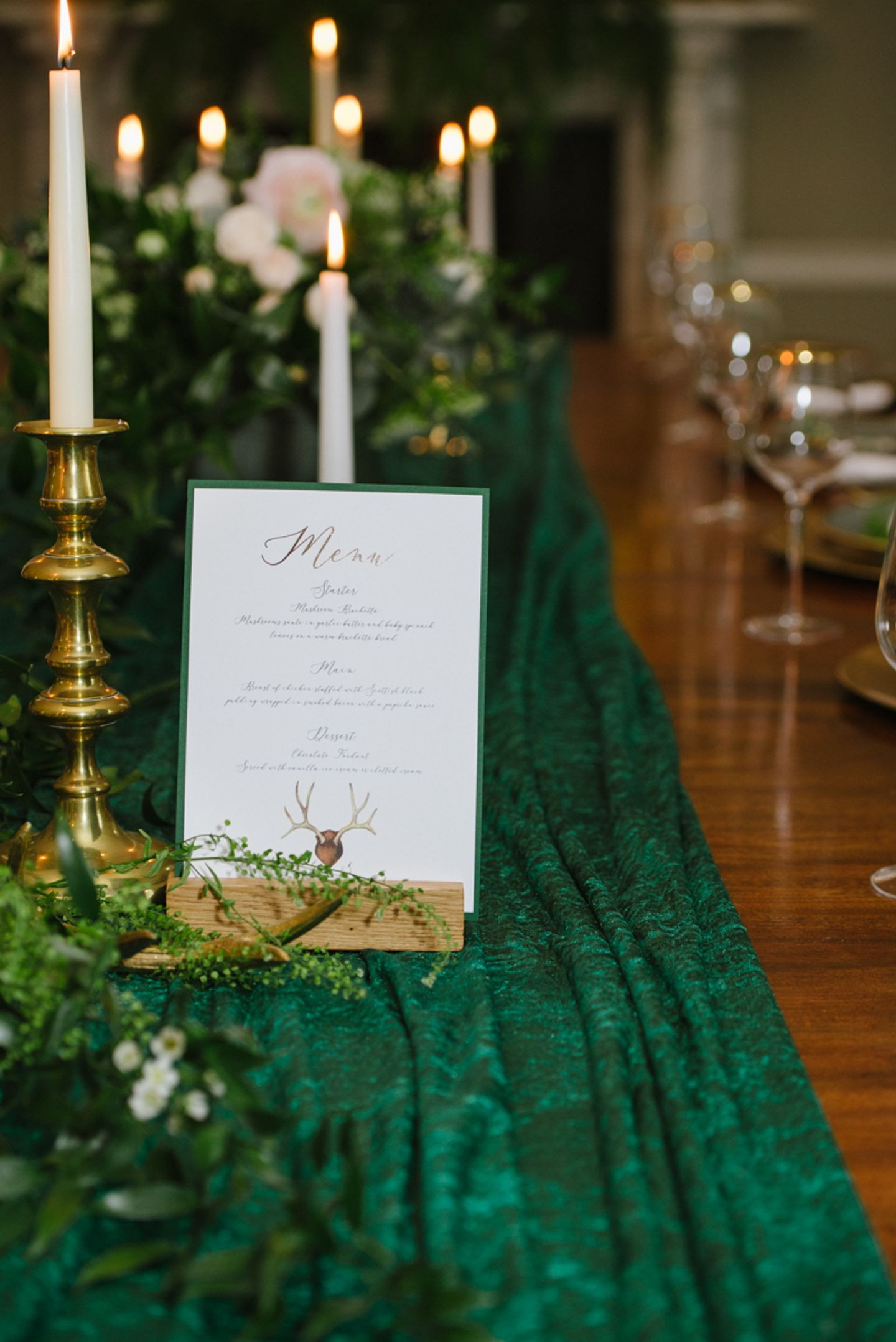 Country House candle lit dinner menu