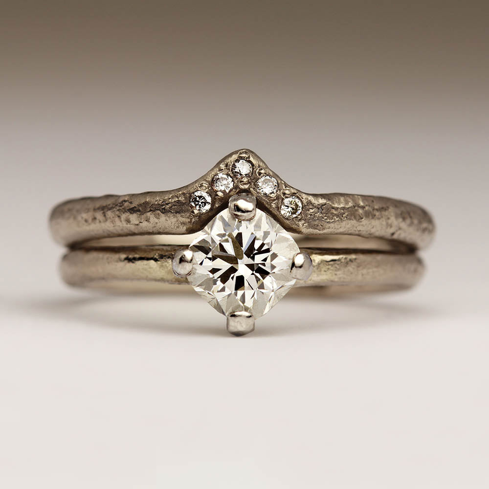 Contemporary Art Deco inspired wedding and engagement ring set