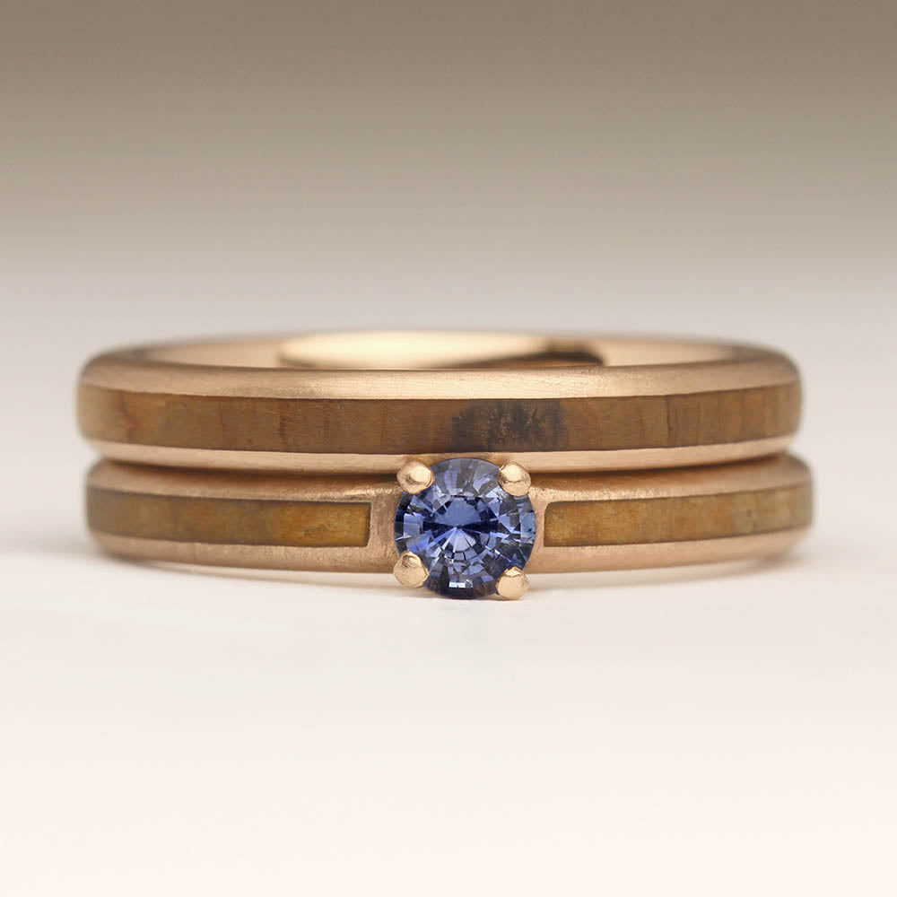 Wood inlay wedding and engagement rings