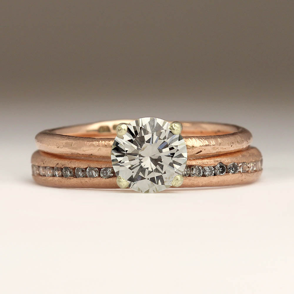 Rose gold wedding and engagement ring